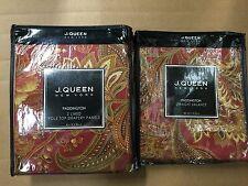 J. Queen NY PADDINGTON/Sebastian DRAPES & VALANCE 5PC Set Red Gold