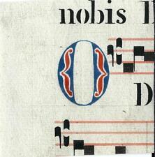 Manoscritto antico CAPOLETTERA O rosso e blu ANTIFONARIO MUSICA 1850 Drop Cap