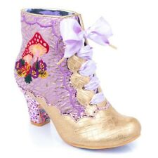 Irregular Choice ''Shroomy'' (C) Mid Heel Lace Up Purple Ankle Boots Shoes