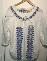Dress Barn Womens Tie Front 3/4 Sleeve Blouse Top Blue White Size L