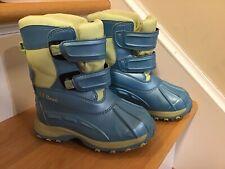 Ll Bean Girls Snow Blue/Green Winter Boots Size 9 Euc