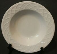 "Picnic Oneida 9"" Rim Soup Bowl All White Embossed Rim Basket Weave replacement"