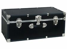 Storage Trunk Footlocker Travel Organizer Box Dorm College Luggage Chest Black