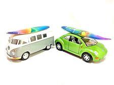 Kinsmart Welly Lot 2 Volkswagen VW Bus Beetle Bug Surf Boards Dolphin 1:32 Cars
