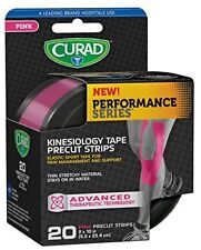 "Curad Performance Series Kinesiology Tape, Pink, 2"" x 10"", Roll of 20 Strips"