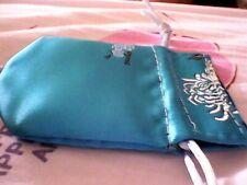 Beautiful Bright Blue Satin Silk Drawstring Pouch Bag w/ Embroidery