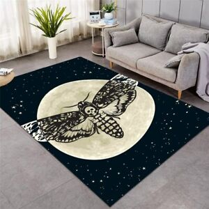 Black Death Moth Gothic Moon Large Rectangle Rug Carpet Mat Living Room Bedroom