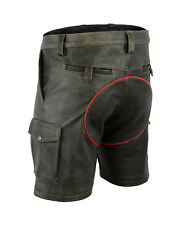 AWANSTAR-7525 Antik Leder Shorts Roten Streife Zimmermann shorts,Cargo Shorts