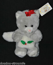 Peluche Doudou Ours RUSS BERRIE Gris Manchon Noeud Rouge Guy 30 Cm 100% NEUF