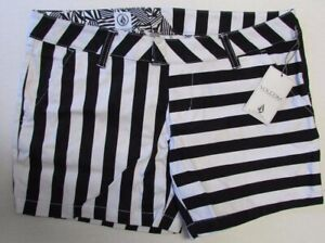 NWT VOLCOM Frochickie Short Casual Shorts White/Black Striped Size 1