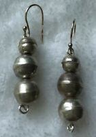 #714 Vintage 1980s Navajo Bench Beads, Sterling Silver 925 Hooks Wires Earrings
