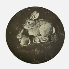 Circular natural slate wall plaque hanging. Rabbits. Nature. Country. Pub.