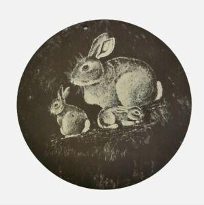 Circular natural slate wall plaque hanging. Rabbits. Nature. Country. Pub.