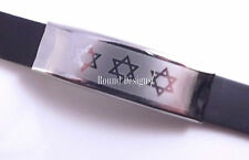 Star Of David Black Bracelet Kabbalah Hebrew Judaica Magen Hamsa Jewish Sliver
