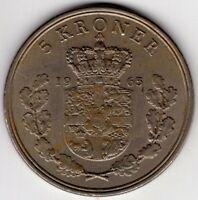 1965 DENMARK 5 KRONER  NICE WORLD COIN