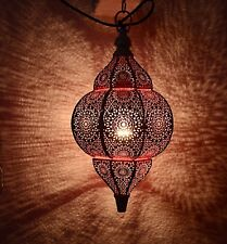 Moroccan Lampshade Oriental Pendant Metal Ceiling Lamp (White & Pink) 12x7.5""