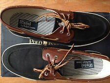Polo Ralph Lauren Rylander Blk/Tan/Cr Canv Leather Boat Shoes Size 11 - Free S/H
