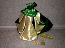Barbie CLOTHES Collectors Just Debox Green Gold Gown Shoes Purse + Lot T9