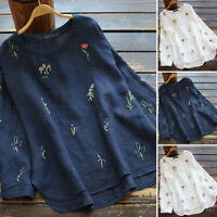 Women Embroidered Cotton Top Casual Loose Shirt Crew Neck Pullover Floral Blouse