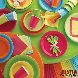 PARTY TABLEWARE - Plates Cups Napkins Tablecovers Balloons Decorations RAINBOW