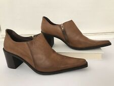 Women's Brogues Shoes 38 US 8 Chunky Heels Long Pointy Toe Brown Space Italy