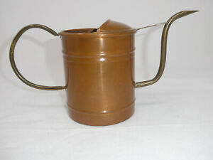 VINTAGE COPPER METAL WATERING CAN W/BRASS SPOUT & HANDLE MADE IN PORTUGAL