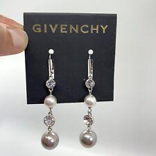 Long GIVENCHY Earrings Pierced Dangle Pearl Silver Drop Rhinestone bridal NEW