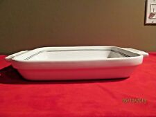 Cuisinart Baking Casserole Dish Handles White with Gray Trim 2 Qt