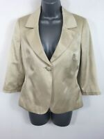 WOMENS MONSOON LIGHT GOLD SATIN BUTTON UP SMART FITTED SHORT BLAZER JACKET UK 10