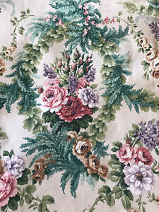 Sanderson 'Barola' vintage 50's 60's linen fabric Raspberry,Green Floral 51x46c