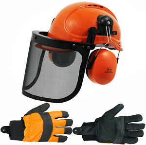 Chainsaw Safety Helmet with Mesh Visor Ear Muffs + Gloves