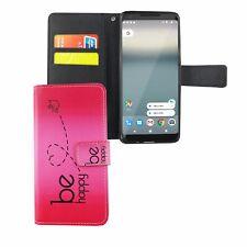 Schutz Hülle für Handy Google Pixel 2 Be Happy Pink Tasche Wallet Cover Case Neu