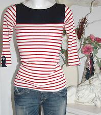 Jane Norman Shirt  3/4 Arm  Viscose Ringel Size:34  Neu