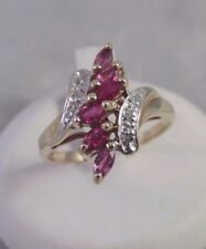 10K YELLOW GOLD PINK TOPAZ MARQUISE DIAMOND ACCENT BYPASS RING Sz 7.5