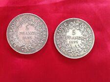 2 Pièces Argent 5 Francs Hercule Années 1873 A de Dupré