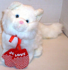 Carlton Cards White Cat Christmas Season Plush with LOVE & JOY Mittens EUC