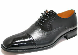 New men's dress shoes formal lace oxfords style polished patent leather black