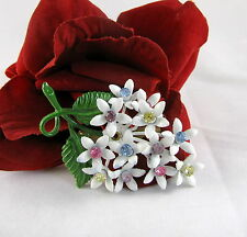 Vintage Beautiful Enamel Pastel Rhinestones  Flower   Pin Brooch  CAT RESCUE