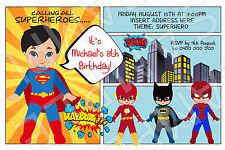 Personalised Superhero Hero Birthday Party Invite Invitation Batman Superman