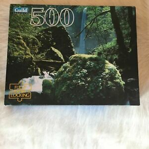 1996 COLUMBIA RIVER GORGE OR Jigsaw Puzzle 500 Piece MOSS WATERFALL Stream Water