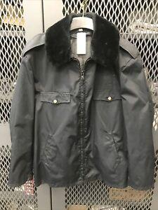 Winter Police Jacket Without Liner Size 48L Navy Blue Fur Trim Brass Buttons HR2
