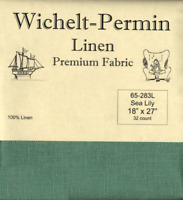 Wichelt Permin PREMIUM LINEN FABRIC 32 Count Cross Stitch 18 x 27 SEA LILY
