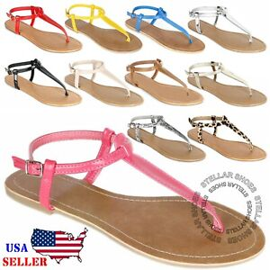 [NEW] Women's Jelly Sandals Gladiator Strappy Jelly Flat Flip Flops Sandals