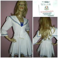 VINTAGE WHITE NAVY GOLD SAILOR GIRL COSTUME 16 L FANCY DRESS KITSCH NAUTICAL