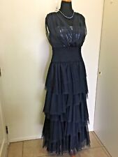 Tadashi Shoji Layered Tulle Sequined Bodice Navy Gown Size 14