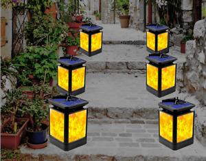 US Outdoor LED Solar Torch Dancing Flickering Flame Light Garden Waterproof Lamp