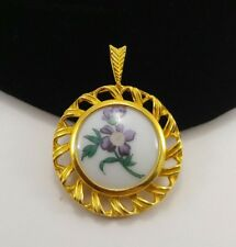 Vintage Danbury Mint Pendant 4 Necklace Hutschenreuther Germany Porcelain Flower