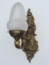 ALTE WANDLAMPE LAMPE  MESSING GLAS SCHIRM FRANKREICH FRENCH