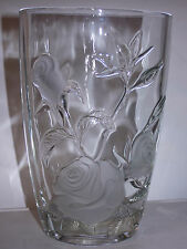 "Mikasa clear oval vase with frosted roses - 9.75"" tall"