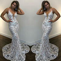 Women's Long Lace Formal Evening Dress Floral Party Prom Cocktail Bridesmaid US